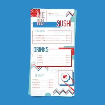 Menu restauracji z szablonem sushi