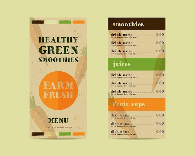 Menu restauracji z warzywami smoothie