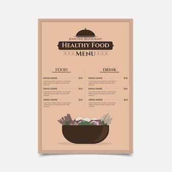 Menu restauracji zdrowej żywności w stylu vintage