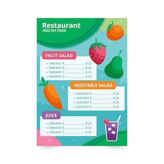 Menu restauracji zdrowej żywności z ilustracją owoców i warzyw