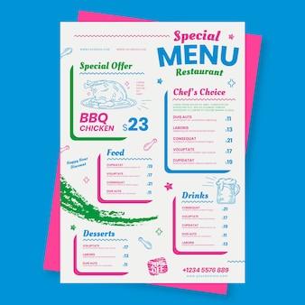 Menu restauracji ze specjalnym szablonem oferty