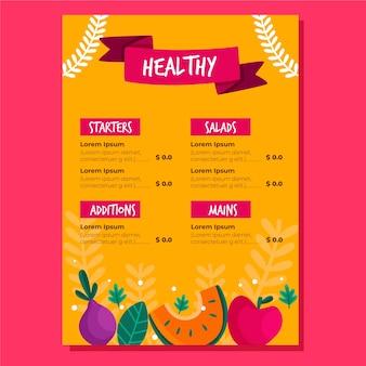 Menu restauracji ze zdrowym jedzeniem i warzywami