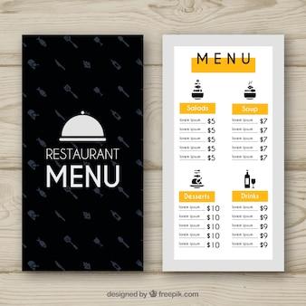 Menu restauracji żółtej i czarnej