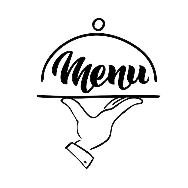 Menu słowo ręcznie napis i taca ręcznie ręcznie wektor kaligrafia na białym tle restauracja