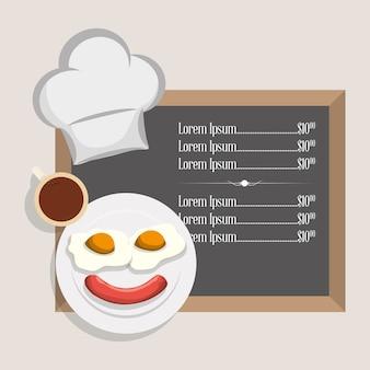 Menu śniadanie restauracja smażone jajko kiełbasa i szef kuchni kapelusz