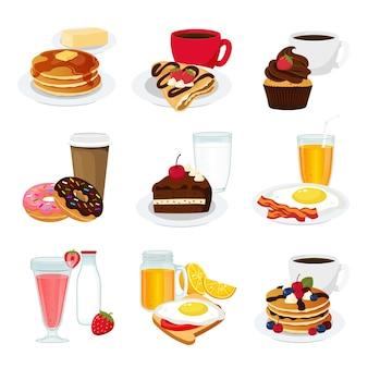 Menu śniadaniowe z kawą, owocami i sokami