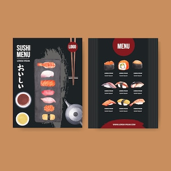 Menu sushi dla restauracji.