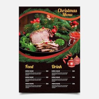 Menu świąteczne z szablonem wyboru żywności