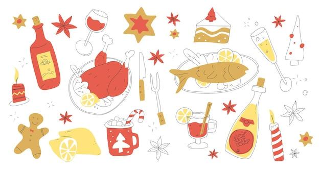 Menu świąteczne zestaw w stylu doodle świąteczne jedzenie i napoje wesołych świąt bożego narodzenia obiad smaczne przyjęcie świąteczne