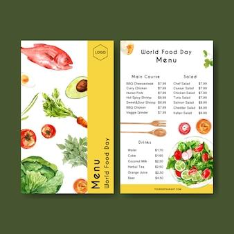 Menu światowego dnia jedzenia z marchewką, awokado, rybą, pomidorową akwarelą ilustracją.