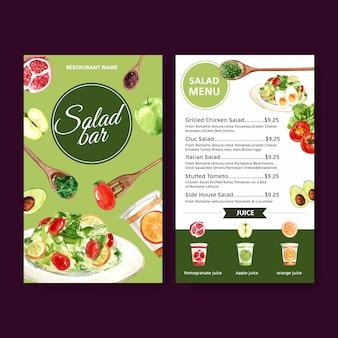 Menu światowego dnia jedzenia z pomidorem, jabłkiem, zielonym dębem, sałatkową akwarelą ilustracją.