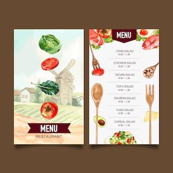 Menu światowego dnia jedzenia z pomidorem, jarmużem, jajkiem sadzonym, sałatkową akwarelą ilustracją.