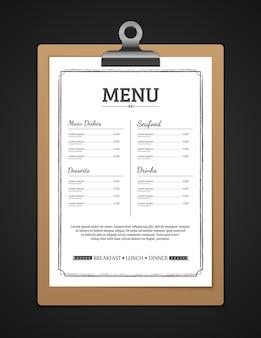 Menu szablon restauracji