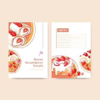 Menu szablon z truskawkowym pieczeniem projektuje dla akwareli ilustraci restauraci, kawiarni, bistro i karmowego sklepu