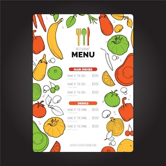Menu szablonu okładki wegańskiej restauracji
