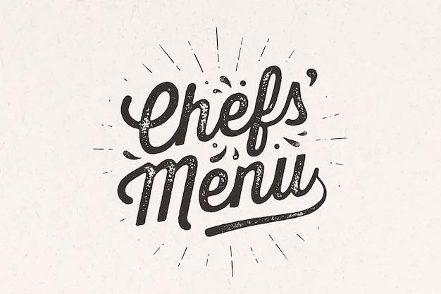 Menu szefów kuchni, napis. dekoracja ścienna, plakat, znak, cytat. plakat do projektowania kuchni z kaligrafią tekstem menu szefów kuchni. vintage typografia na białym tle.