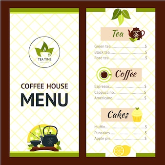 Menu tea cafe