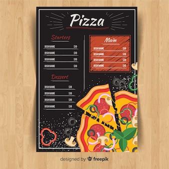 Menu ulotki z pizzą