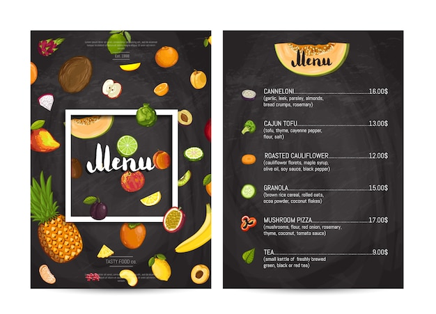 Menu wegańskie jedzenie w kawiarni