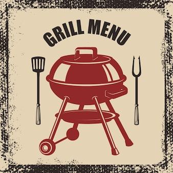 Menu z grillem. grill, widelec i kuchnia szpatułka na tło grunge. element plakatu, menu. ilustracja