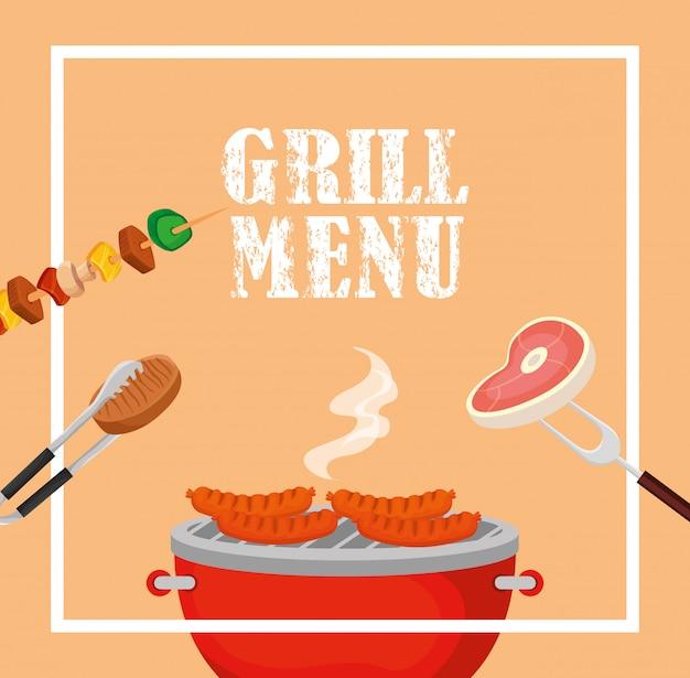Menu z grillem i pyszne jedzenie w kwadratowej ramce