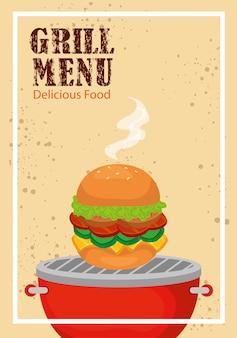 Menu z grillem i pysznym hamburgerem
