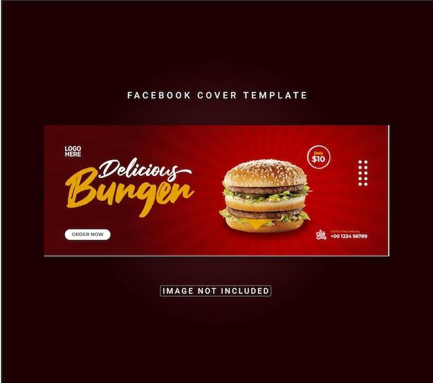 Menu z jedzeniem i projekt szablonu okładki na facebooku z pysznym burgerem