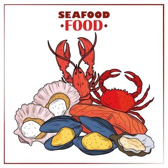 Menu z owocami morza dla smakoszy świeże krabowe ostrygi homarowe, małże i małże plakat