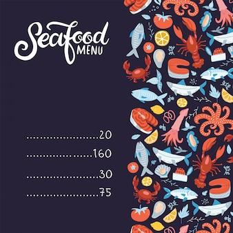 Menu z owocami morza. zestaw kolorowych elementów owoców morza - raki, homary, kraby, krewetki, cytryna z ośmiornicą, muszle, ostrygi, łosoś, ryby i przyprawy, skorupiaki. płaskie ręcznie rysowane ilustracja z napisem.