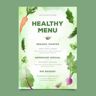 Menu zdrowej żywności w stylu przypominającym akwarele