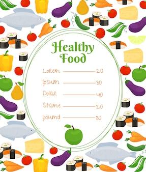 Menu zdrowej żywności z owalną ramką i cennikiem otoczonym kolorowymi rybami, warzywami, serem i ikonami owoców w rozproszonych