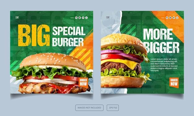 Menu żywności burger instagram i szablon postu i banera na facebooku
