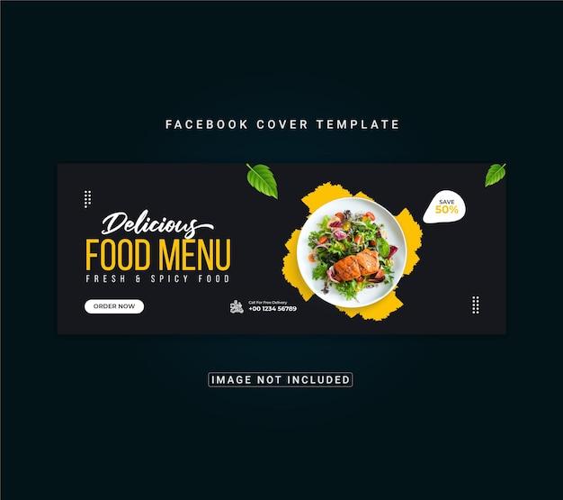 Menu żywności i szablon banera na okładkę restauracji na facebooku