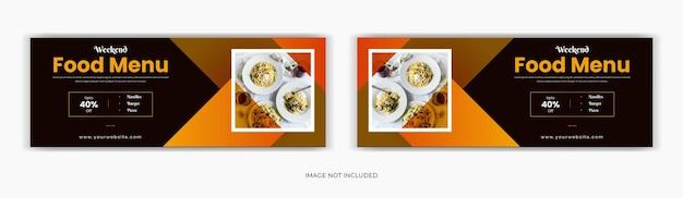 Menu żywności w mediach społecznościowych po osi czasu na stronie tytułowej na facebooku