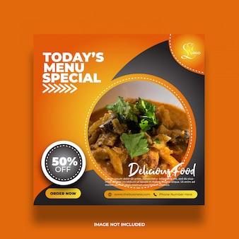 Menu żywności w restauracji specjalne media społecznościowe post streszczenie premium post
