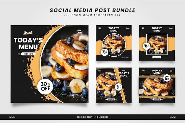 Menu żywności z pędzelkami szablonów wpisów w mediach społecznościowych