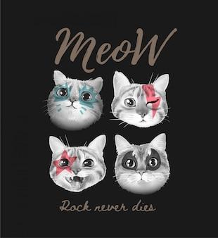 Meow slogan z uroczą twarzą kotów malowaną ilustracją na czarnym tle