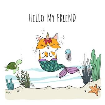 Mercaticorn, słodki kot syrenka z kreskówek z rogiem jednorożca, pływający w morzu ze zwierzętami morskimi.