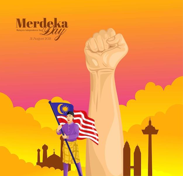 Merdeka day lub malezyjskie tło obchodów dnia niepodległości