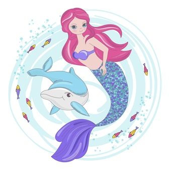 Mermaid fairy cartoon tropical animal
