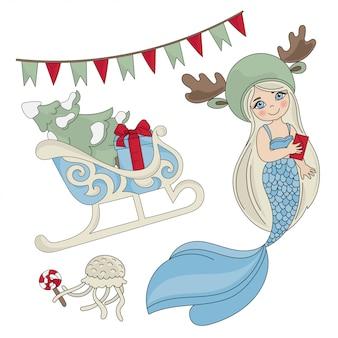Mermaid sleigh christmas seamless pattern