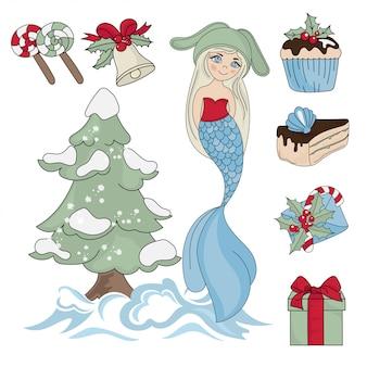Mermaid świąt bożego narodzenia