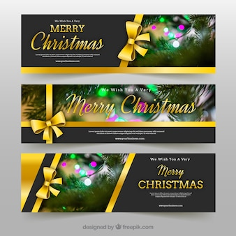 Merry christmas banery ze złotymi łuki