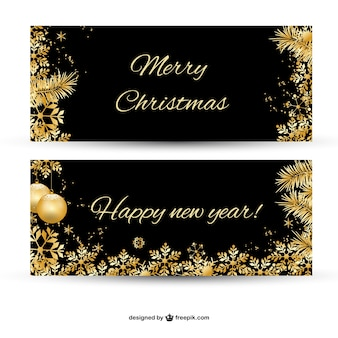 Merry christmas banner z pozłacanymi ornamentami