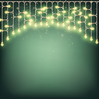 Merry christmas card concept - glowing lights garland.