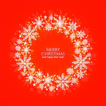 Merry christmas card piękne okrągłe snoflakes dekoracyjne tło