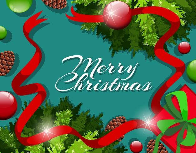 Merry christmas card szablon z ornamentami i pinecones