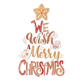 Merry christmas card z piernikowymi ciasteczkami. drzewo z ciastek. ilustracja wektorowa na projekt nowego roku.