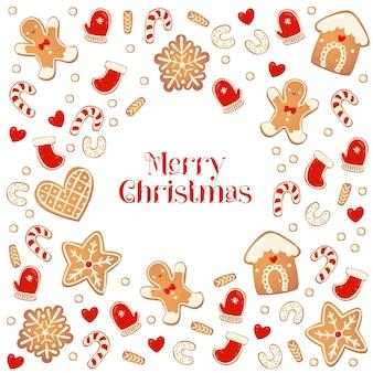 Merry christmas card z piernikowymi ciasteczkami. rama z ciastek. ilustracja wektorowa na projekt nowego roku.