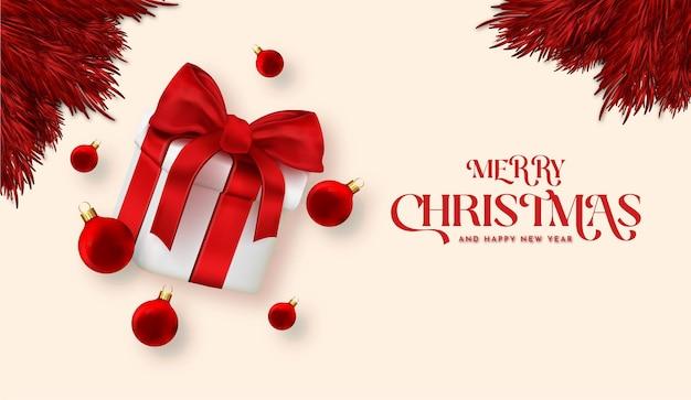 Merry christmas card z realistycznym prezentem 3d